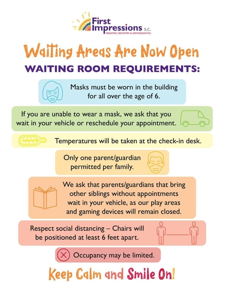 First Impressions pediatric dentistry and orthodontics covid19 waiting room requirements