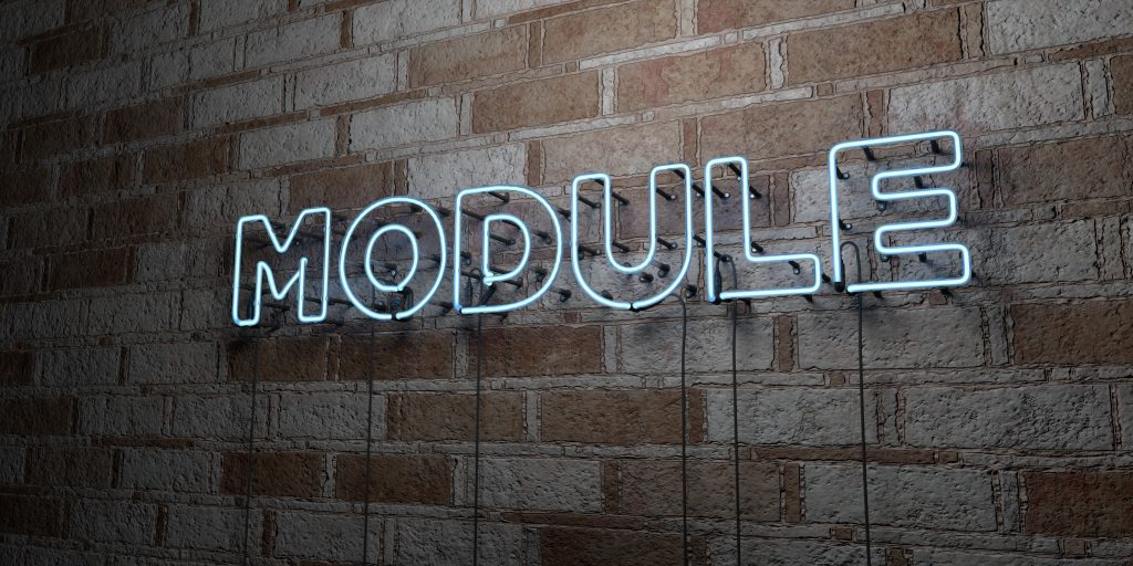MODULE - Glowing Neon Sign on stonework wall - 3D rendered royalty free stock illustration.  Can be used for online banner ads and direct mailers.