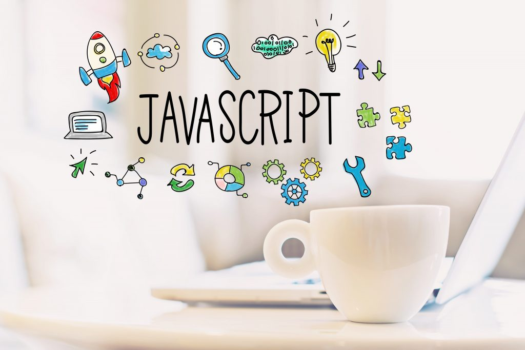 JavaScript concept with a cup of coffee and a laptop