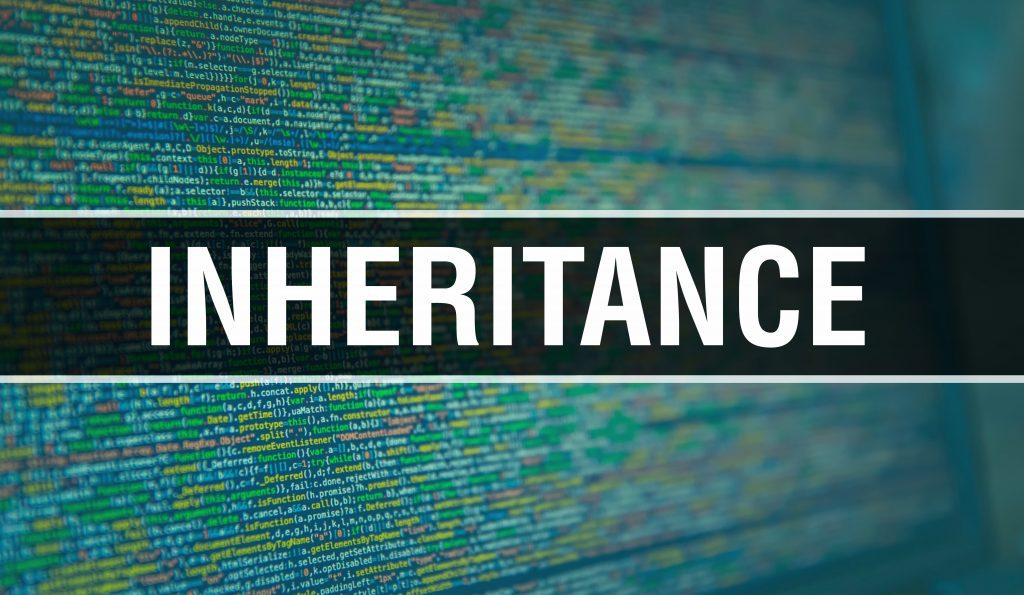 INHERITANCE with Binary code digital technology background. Abstract background with program code and INHERITANCE. Programming and coding technology background. INHERITANCE with Program listing