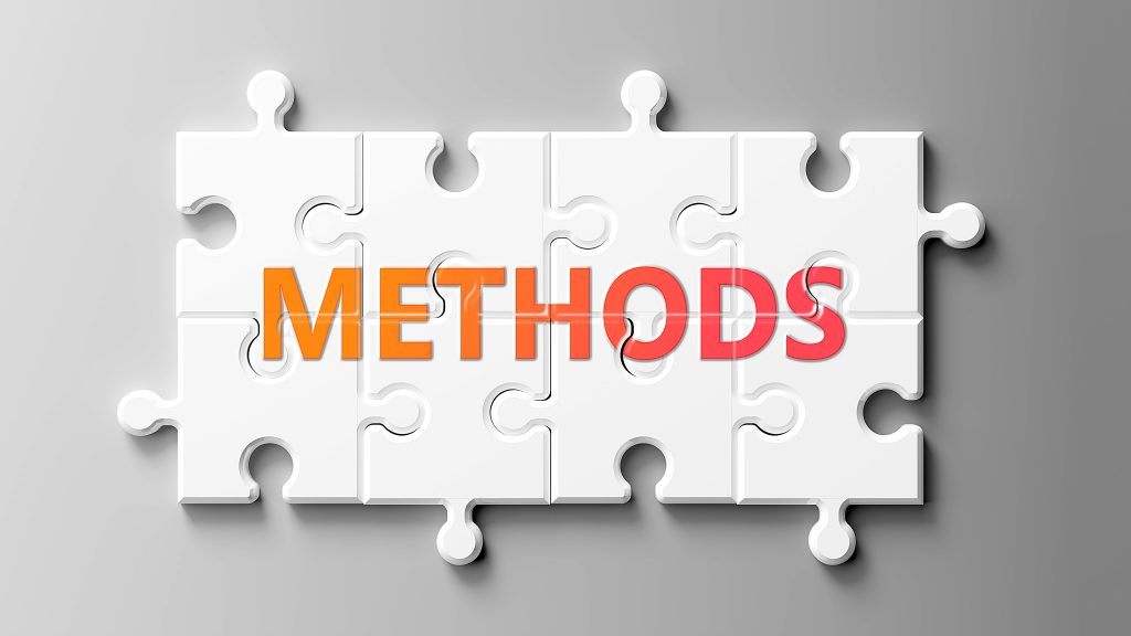 Methods complex like a puzzle - pictured as word Methods on a puzzle pieces to show that Methods can be difficult and needs cooperating pieces that fit together, 3d illustration