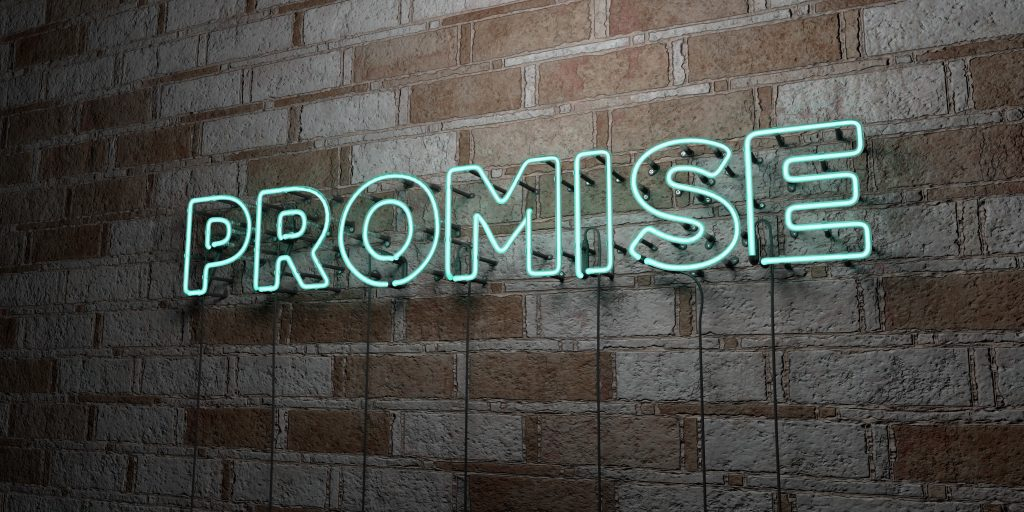 PROMISE - Glowing Neon Sign on stonework wall - 3D rendered royalty free stock illustration.  Can be used for online banner ads and direct mailers.