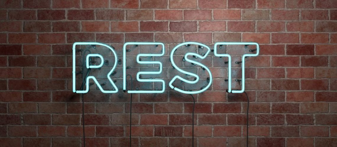 REST - fluorescent Neon tube Sign on brickwork - Front view - 3D rendered royalty free stock picture. Can be used for online banner ads and direct mailers.